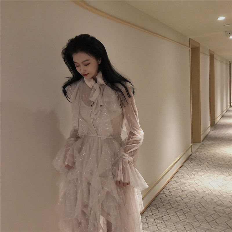 實拍實價 秋冬新款毛毛領蝴蝶結網紗連衣裙配兔毛圍脖