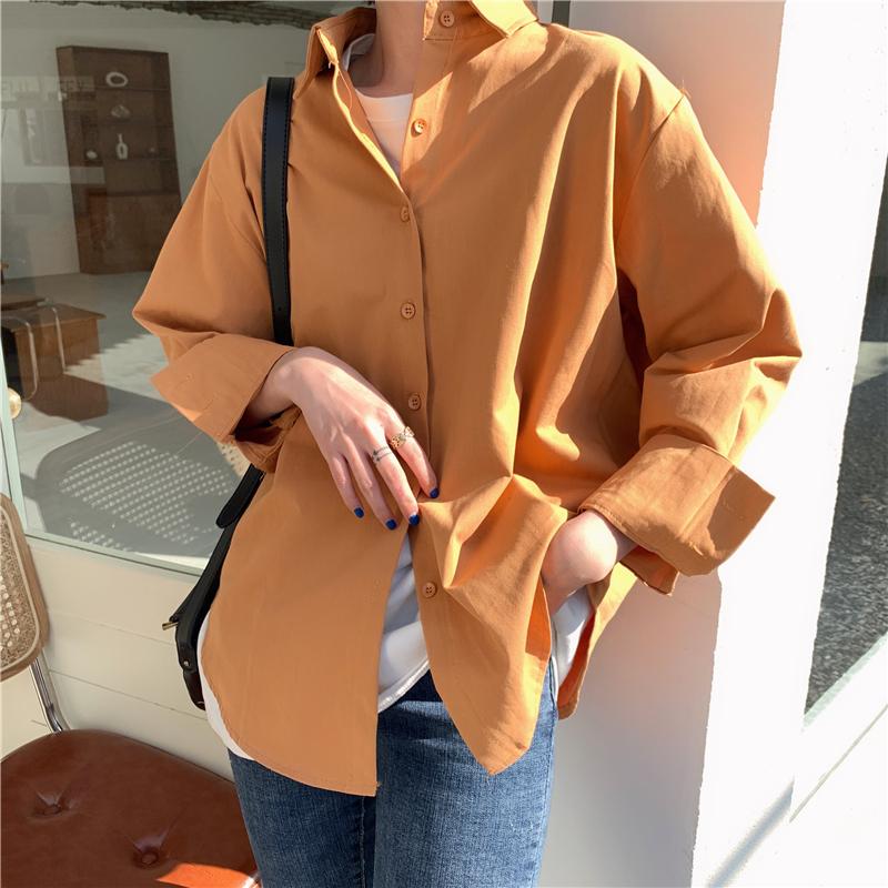 實拍#2020春季新款港味復古純色Polo領不規則長袖襯衫上衣女