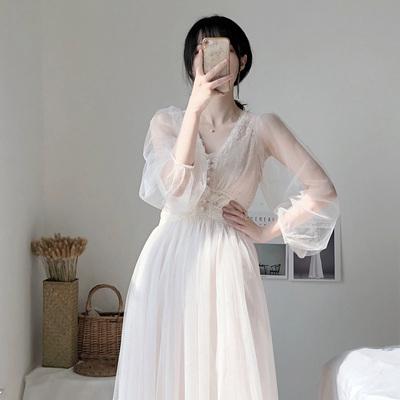 2020早春新款超仙女森系甜美網紗連衣裙法式山本過膝V領智熏裙子