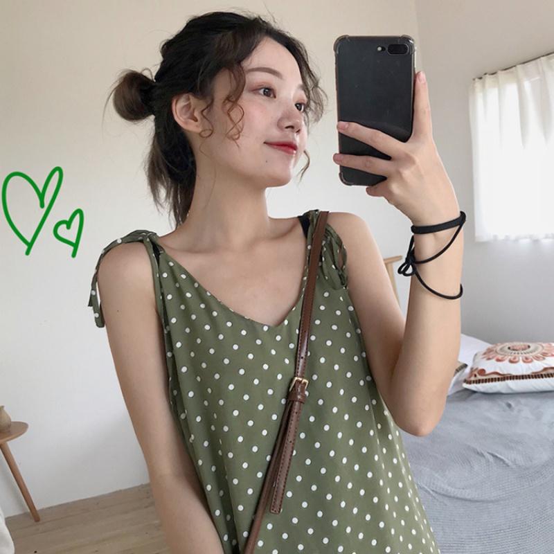 2020春夏新款女裝韓版波點中長款系帶吊帶很仙的法國小眾連衣裙潮