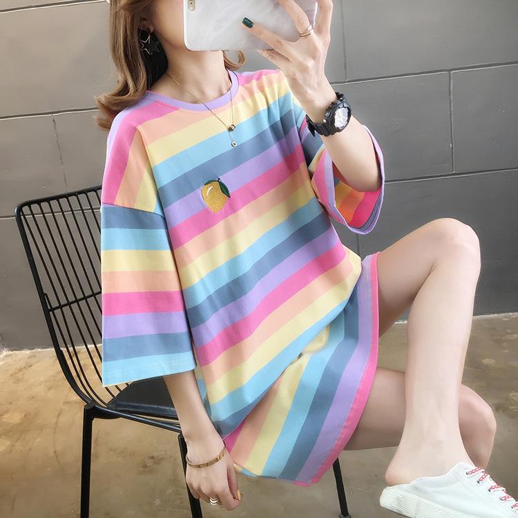 2021夏装实拍~新款胖mm彩虹条刺绣短袖t恤纯棉大码上衣