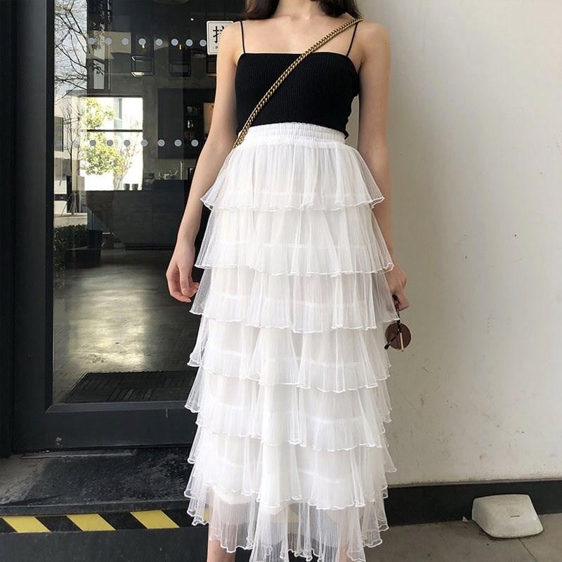 蛋糕裙半身裙女中長款2020春夏新白色百褶裙仙女小清新半身長裙子