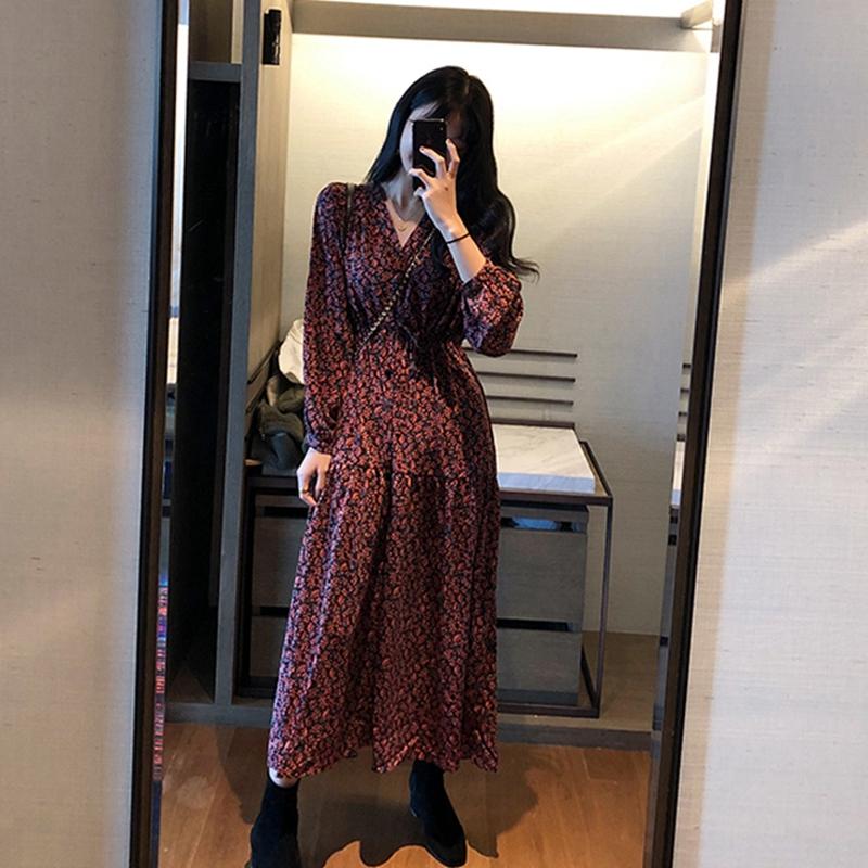 2020春秋季新款韓版仙女超仙森系氣質碎花連衣裙女學生顯瘦打底裙