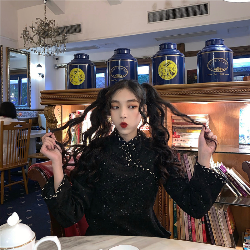 實拍實價 復古中國風盤扣連衣裙氣質顯瘦少女改良旗袍秋冬款