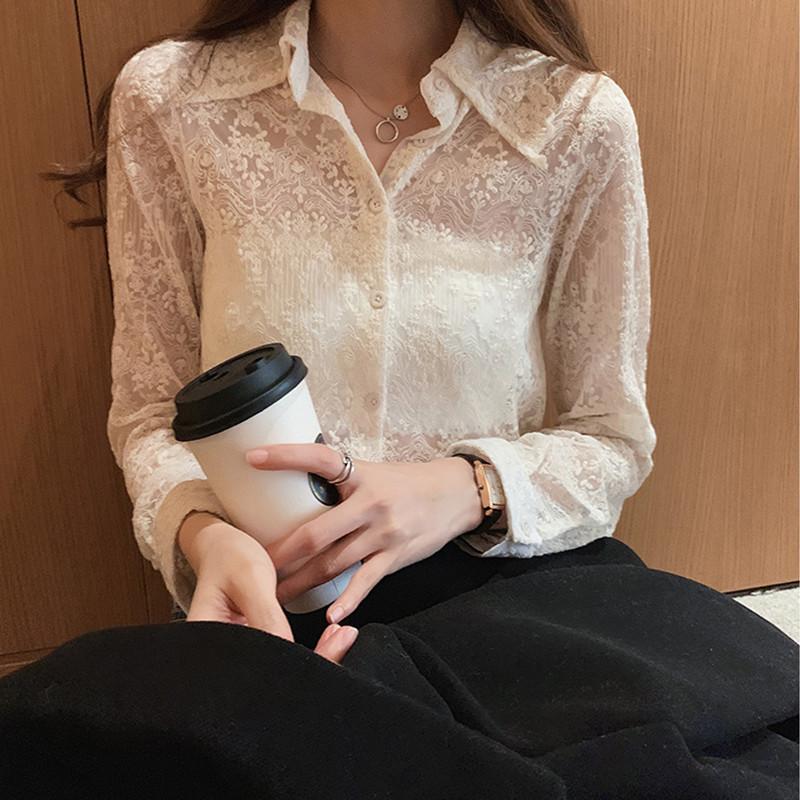 蕾絲打底衫女2020春季新款韓范寬松設計感襯衣上衣洋氣內搭小衫潮