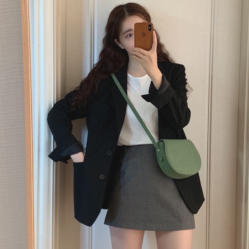 chic小西裝外套女2020新款春秋韓版黑色寬松休閑網紅西服ins西裝