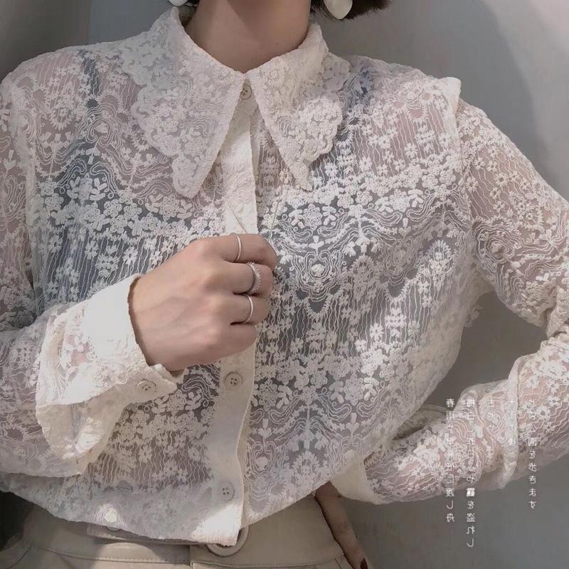 蕾絲衫女襯衫2020春季新款精致內搭洋氣小衫打底上衣百搭長袖襯衣
