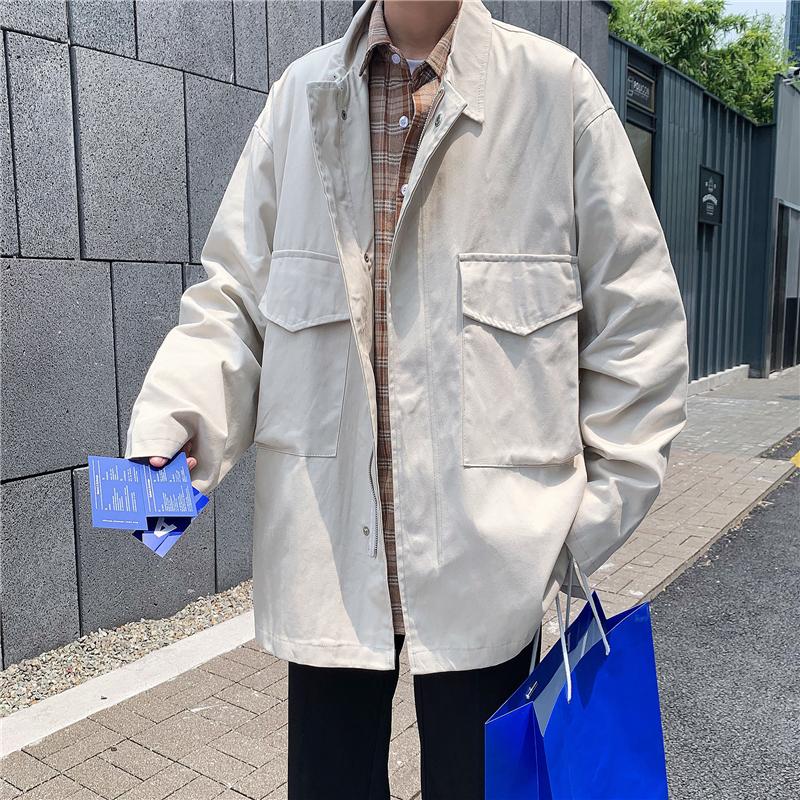 2020春款韩版男装工装外套翻领外套夹克薄款时尚外套风衣