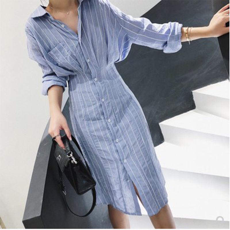 襯衫連衣裙收腰中長款2020春裝韓版新款長袖氣質條紋顯瘦襯衫裙女