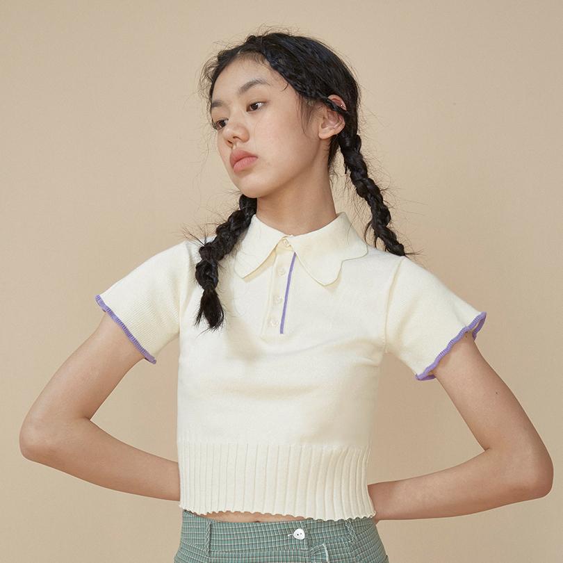 LLANO2020新款復古polo衫針織大翻領T恤chic薄款短袖女上衣修身夏