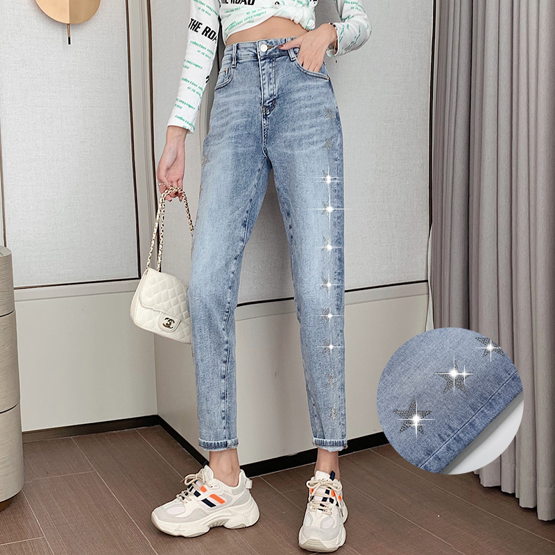 实拍现货2020新款春秋女烫钻五角星做旧百搭显瘦直筒牛仔裤休闲裤