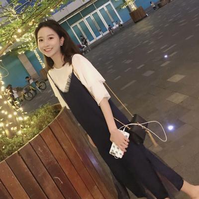 吊帶連衣裙女2020新款學院風收腰顯瘦氣質初戀系春夏兩件套蕾絲裙