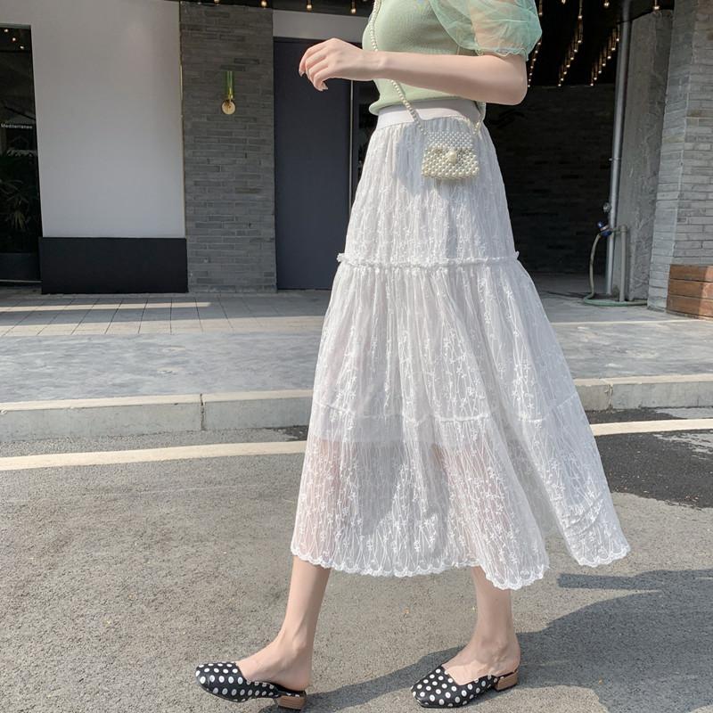 2020實拍春夏新款大擺清新甜美刺繡網紗蛋糕裙中長款紗裙仙女裙