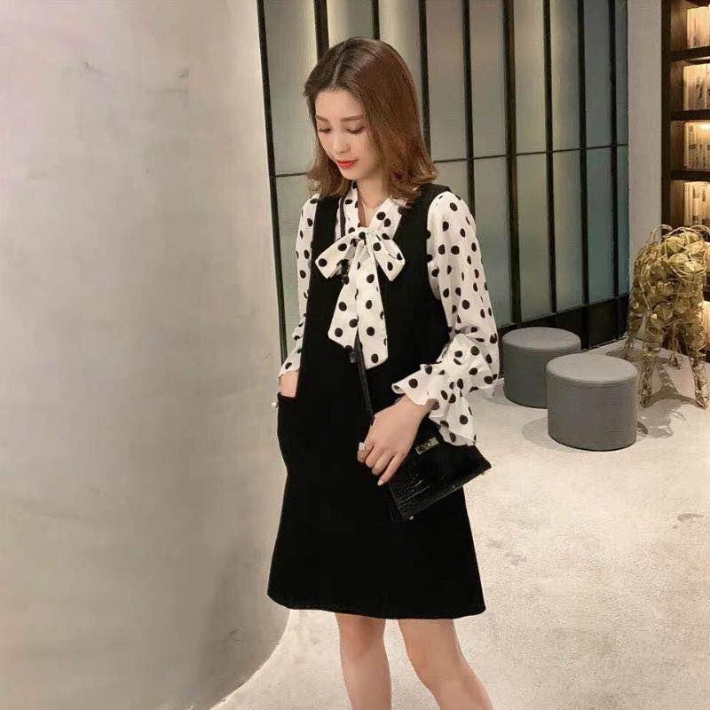 加肥加大碼2020春季新款顯瘦 黑色珍珠吊帶裙+波點雪紡衫兩件套