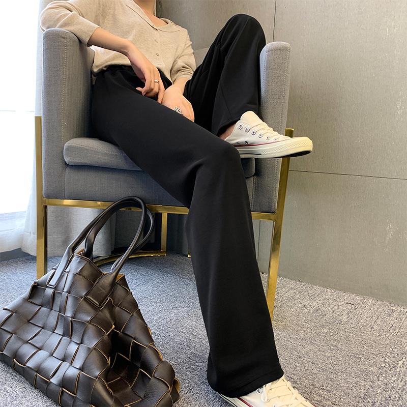 闊腿褲女2020年春季春秋高腰垂感直筒顯瘦長褲百搭拖地寬松休閑褲