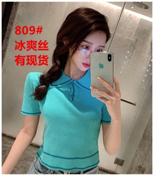 小番茄定制 T恤女韓版夏洋氣小衫修身顯瘦針織衫polo領短袖上衣