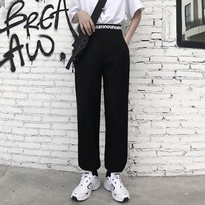 实拍2021嘻哈爵士新款跳舞裤子女高腰小个子束脚韩版束脚休闲裤子