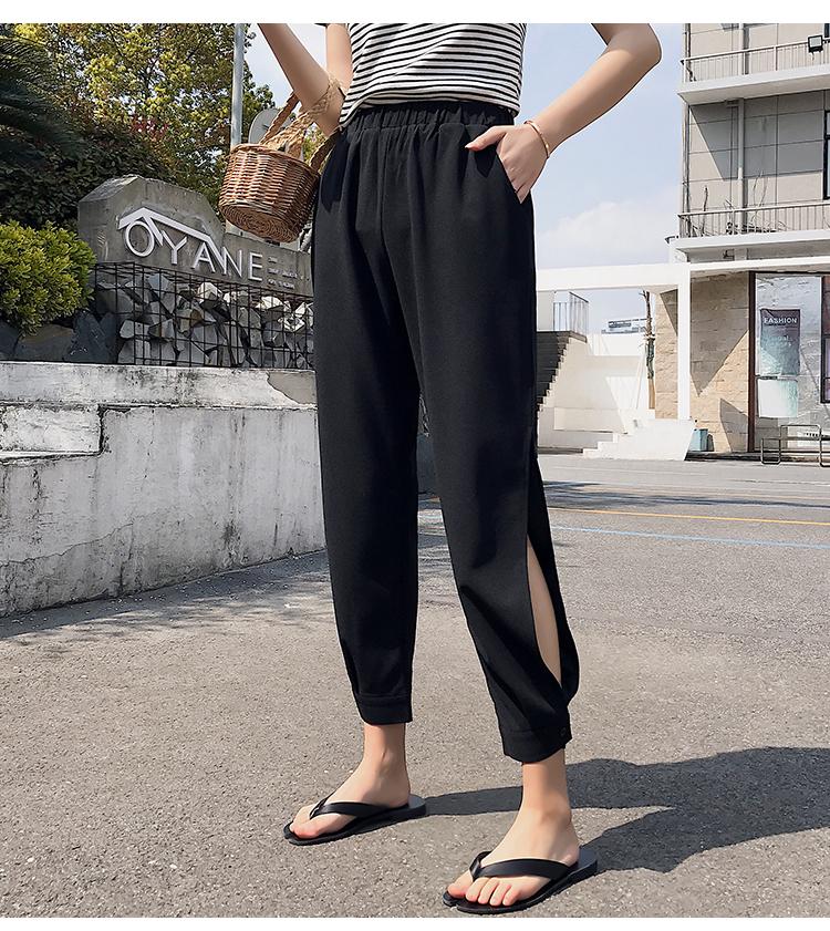 实拍 夏装新款束脚灯笼裤雪纺宽松垂感休闲哈伦萝卜裤女