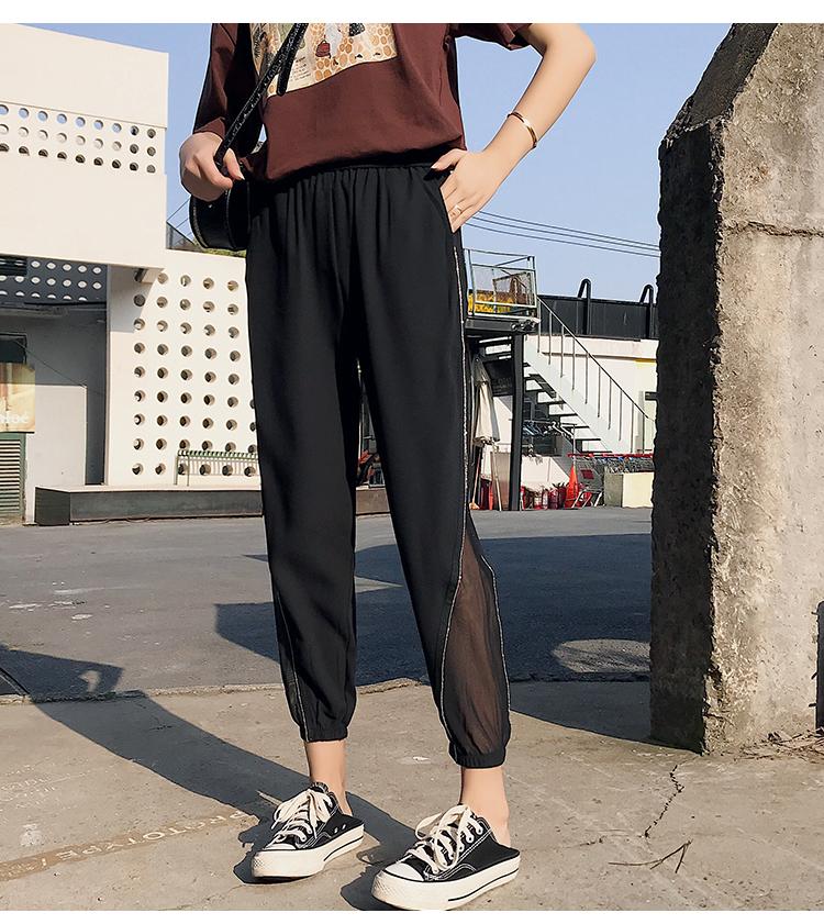实拍 夏装新款束脚灯笼裤雪纺哈伦宽松垂感休闲萝卜裤女