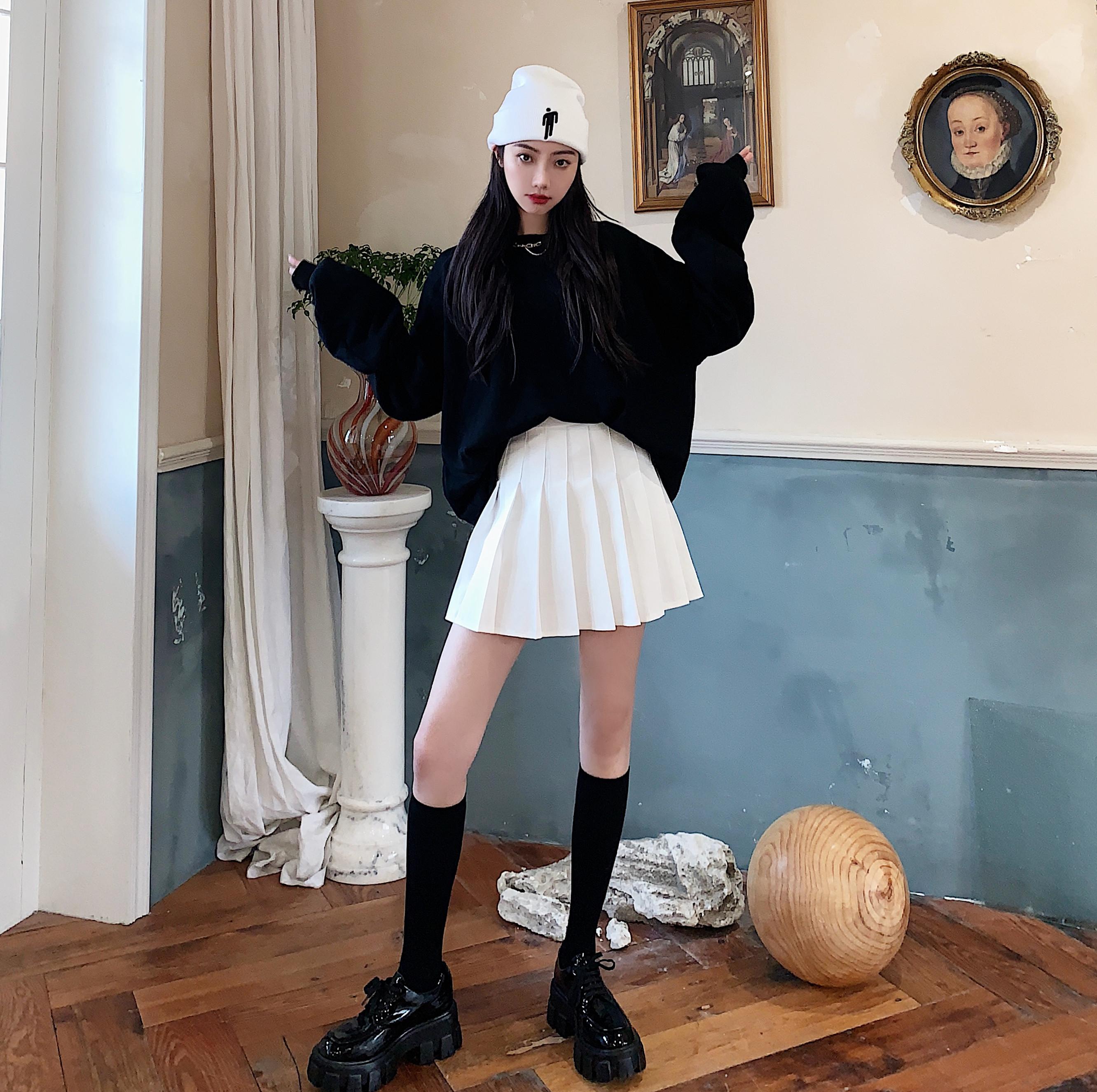 實拍實價 2020春夏季新款韓版純色高腰顯瘦百搭褲裙百褶裙