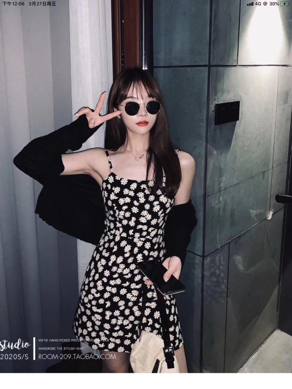 錢夫人 小鄒菊翠花法式性感A字吊帶裙小個子收腰修身閨蜜裝連衣裙