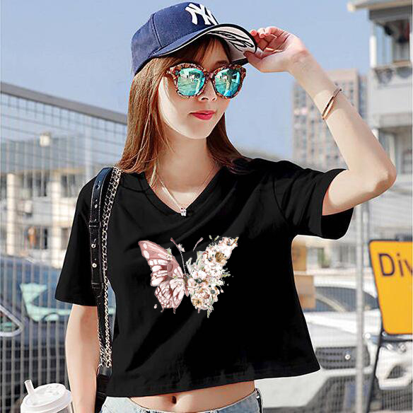 CP390#特价款!纯棉! 夏季新款短袖T恤女短款露脐高腰V领上衣