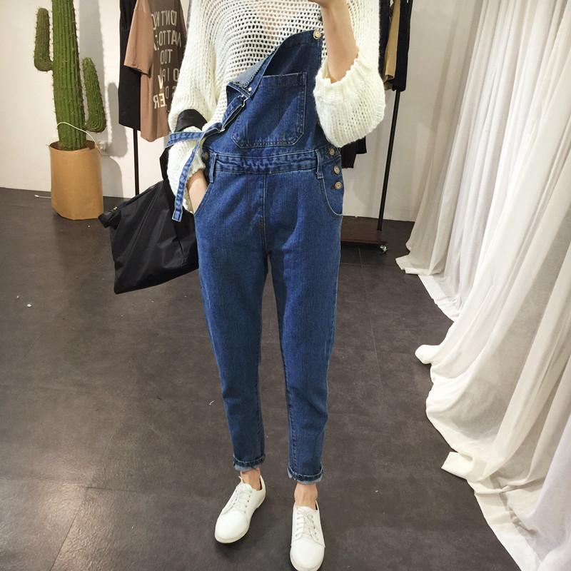 vintage網紅牛仔背帶褲女2020新款韓版寬松小個子森女系減齡連體