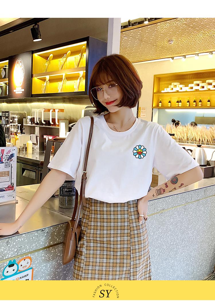 2020春季新品韓版寬松學生純棉顯瘦印花t恤女白色百搭短袖打底衫