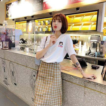 2020春季新品韓版寬松學生純棉顯瘦繡花t恤女白色百搭短袖打底衫