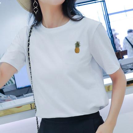 菠蘿刺繡t恤女2020春夏新款簡約百搭寬松純棉圓領短袖白色ins上衣
