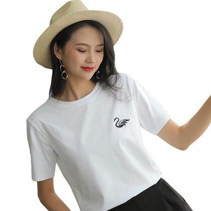 天鵝刺繡t恤女2020春夏新款簡約百搭寬松純棉圓領短袖白色ins上衣