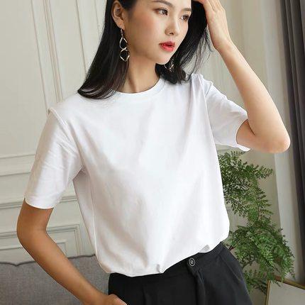 純色凈版t恤女2020春夏新款簡約百搭寬松純棉圓領短袖白色ins上衣