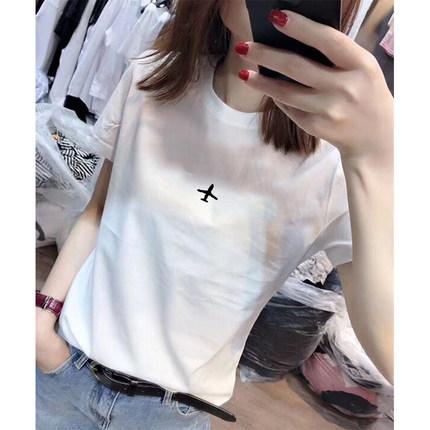 純棉網紅飛機刺繡短袖t恤女潮百搭2020新款韓版寬松白色上衣女夏
