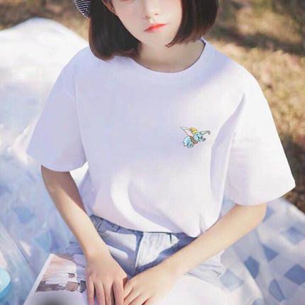 純棉網紅飛象刺繡短袖t恤女潮百搭2020新款韓版寬松白色上衣女