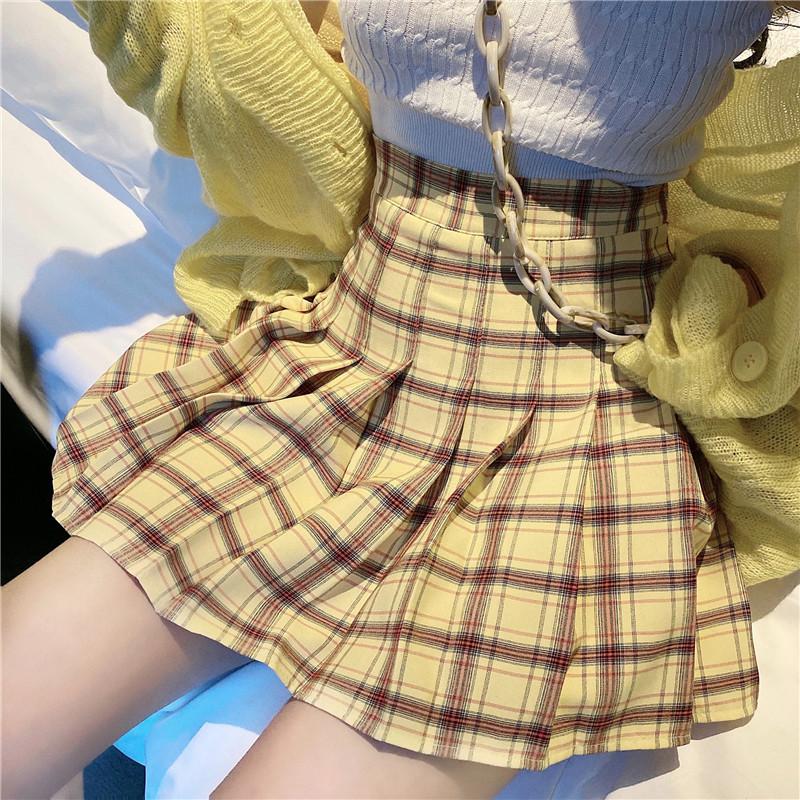 實拍實價 2020春夏季新款顯瘦格子百褶裙a字裙高腰半身裙