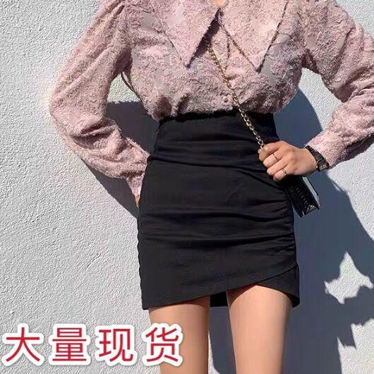 網紅泫雅風短裙女夏褶皺不規則半身裙高腰顯瘦A字包臀裙