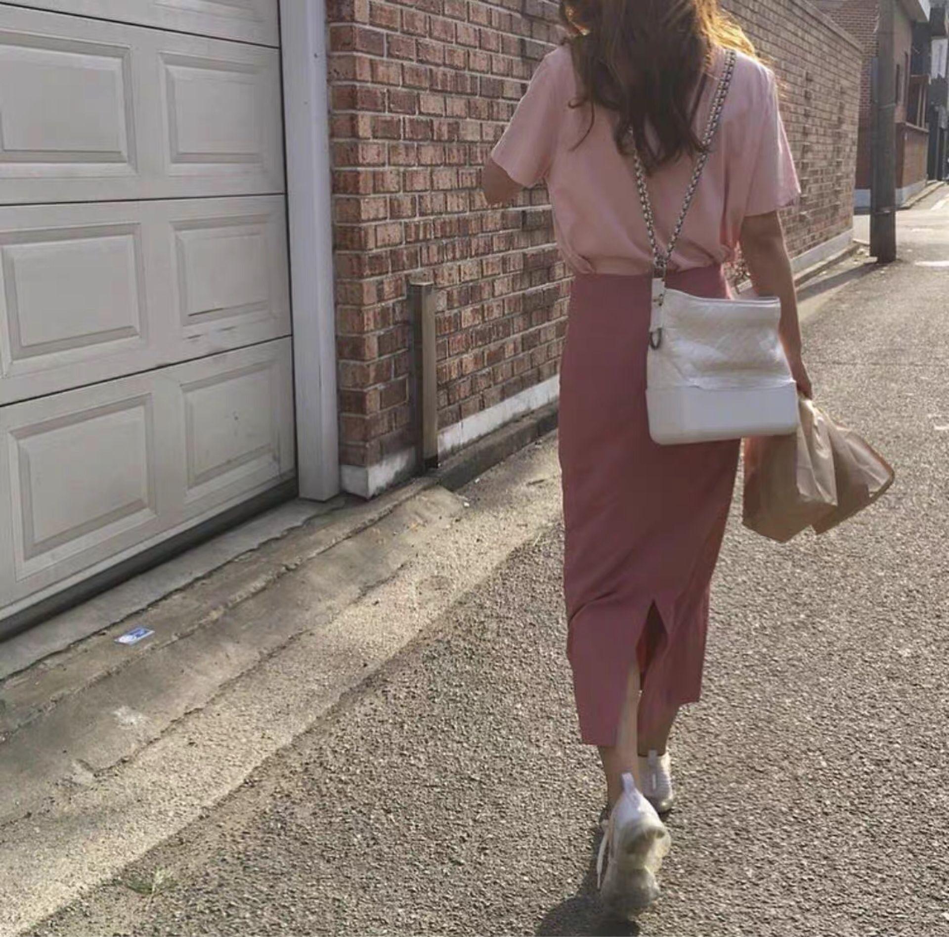 韓版 蜜桃粉短袖+ 百搭氣質棉麻中長款半身裙粉色女 套裝