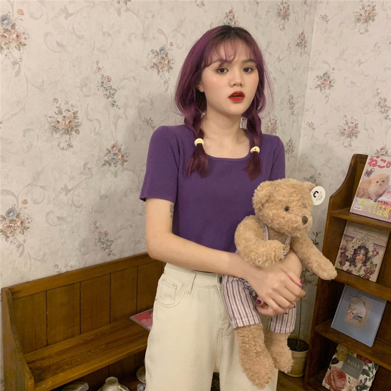 實拍實價 韓版簡約基礎chic顯白小方領短袖針織T恤女