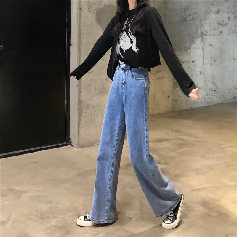 實拍實價 2020新款韓版寬松直筒拖地褲高腰闊腿牛仔褲