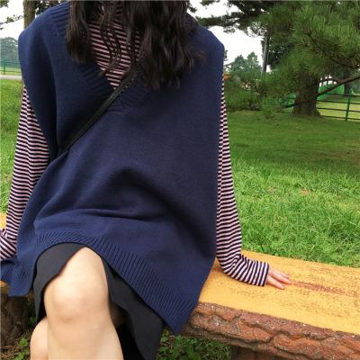 春季韓版女裝寬松V領開叉背心馬甲針織衫純色中長款套頭毛衣上衣