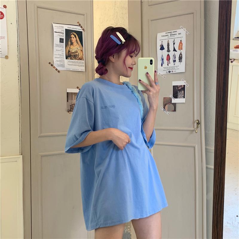 實拍實價 多色bi入百搭刺繡圓領寬松基礎款純色T恤