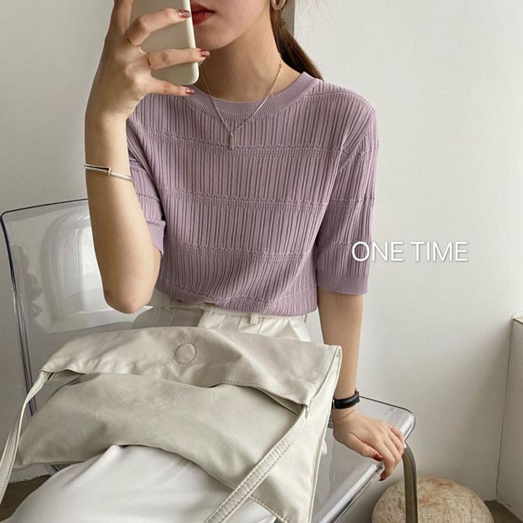 韓國春夏百搭圓領坑條凈色套頭寬松短袖針織衫T恤打底衫女上衣