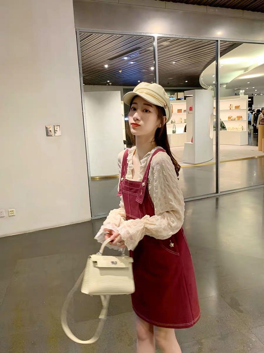 2020燈籠袖新款韓版時尚洋氣蕾絲衫v領長袖仙氣雪紡衫潮十背帶裙
