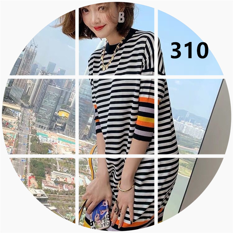 MIUCO撞色橫條紋拼接彩虹螺紋邊繭型顯瘦針織連衣裙女裝2020夏新