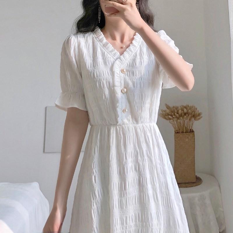 2020夏季新款流行裙子桔梗法式復古氣質仙女小香風白色連衣裙