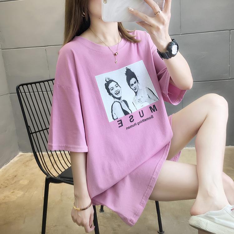2021夏装 实拍~新款韩版宽松大码女装中长款印花圆领短袖T恤