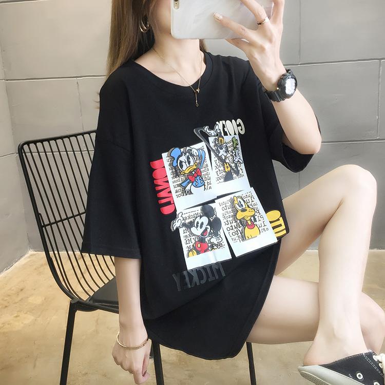 2021夏装 实拍~新款韩版宽松大码女装中长款卡通印花圆领短袖T恤