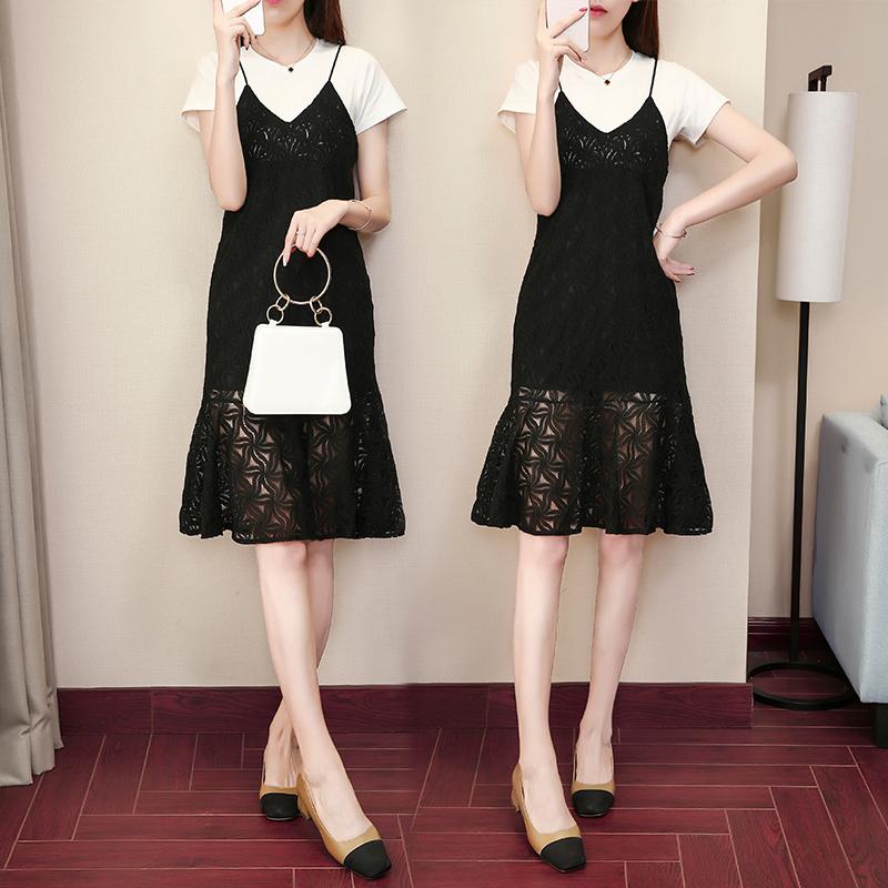 2020韓版吊帶鏤空蕾絲連衣裙中長款兩件套氣質套裝裙子魚尾裙