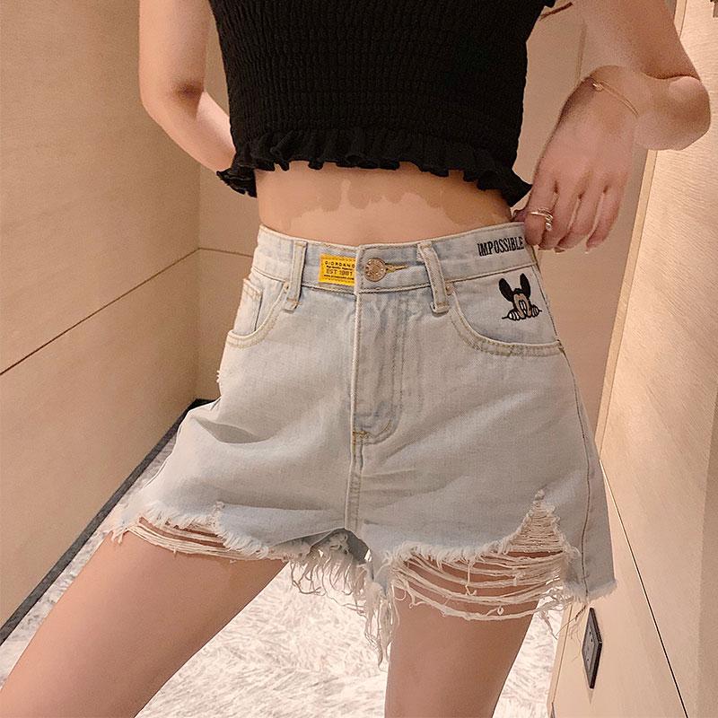 实拍现货夏季裤子女显瘦破洞牛仔裤短裤毛边直筒裤