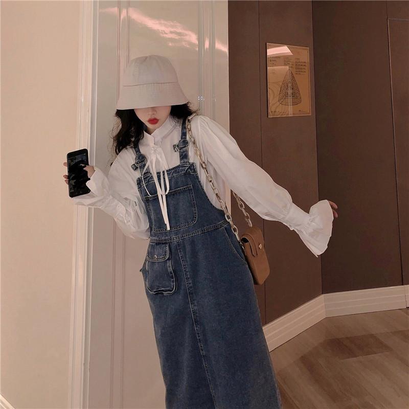實拍實價 系帶蝴蝶結泡泡袖襯衫+復古中長款牛仔背身裙